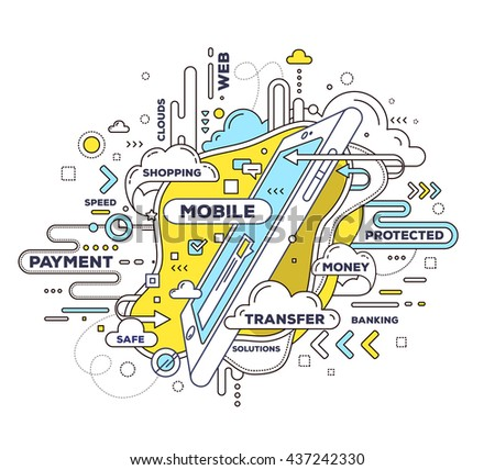 Vector creative illustration of mobile transfer with phone and tag cloud on white background. Mobile payment technology concept. Hand draw thin line art style design with phone for mobile transfer - stock vector