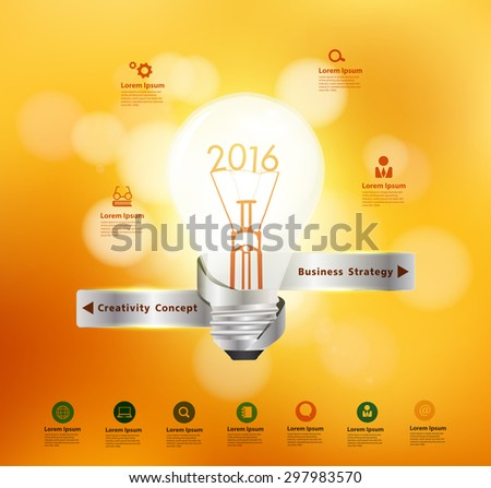 Vector creative light bulb idea 2016 New Year, With christmas holiday lights bokeh background - stock vector
