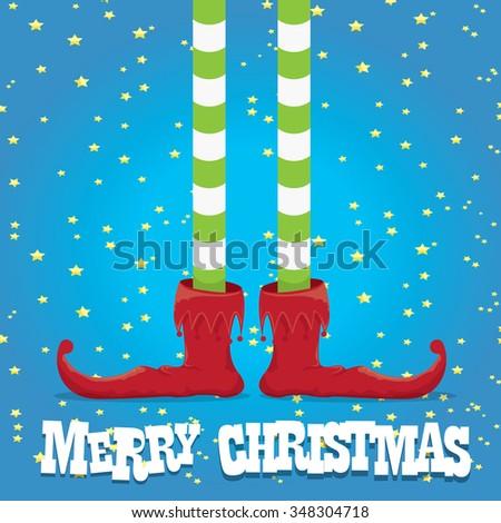 vector creative merry christmas greeting card, christmas cartoon elf's legs on blue  background - stock vector