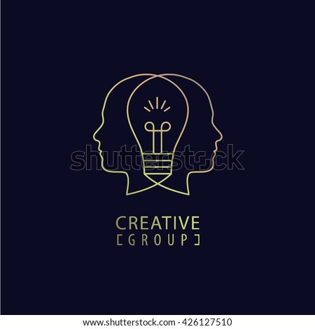 Vector creative mind logo, creative group logo, two heads and light bulb between illustration. Thinking, creating new ideas concept. Outline - stock vector