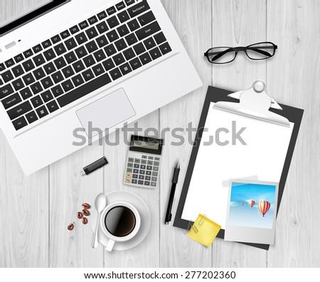 Vector Creative Office Workspace Still Life, Realistic illustration. - stock vector