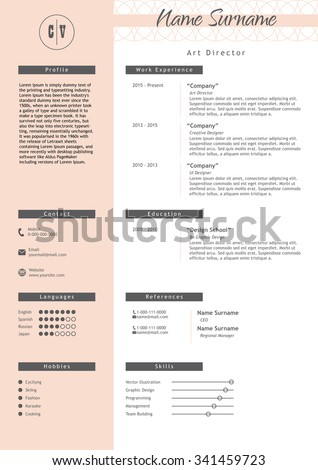 Vector creative resume template minimalistic pink stock photo photo vector creative resume template minimalistic pink and white style cv light infographic elements yelopaper Image collections