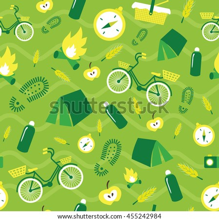 Vector creative seamless pattern with hiking elements camp fire, compass, tent, bicycle - stock vector
