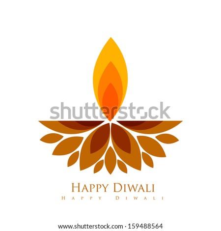 vector creative style diwali festival diya - stock vector