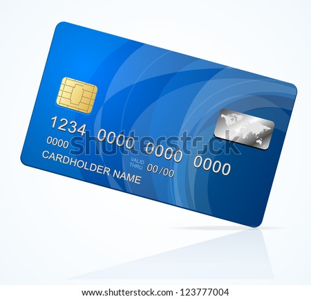 Vector Credit Card blue icon Isolated on white - stock vector