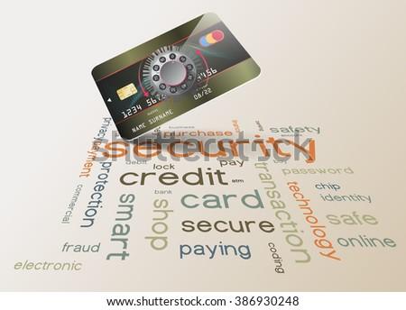 Vector credit card data security concept - combination lock - stock vector