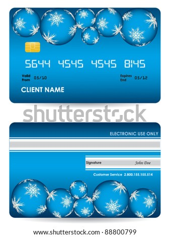 Vector credit card, front and back view - christmas edition - stock vector