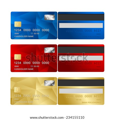 Vector Credit Card set two sides. Triangle modern background