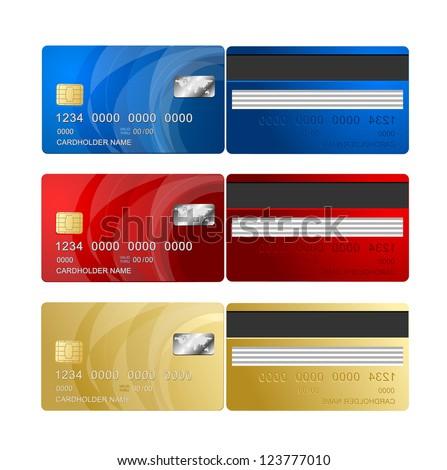Vector Credit Card two sides - stock vector