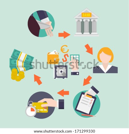 Vector credit flat icons. - stock vector