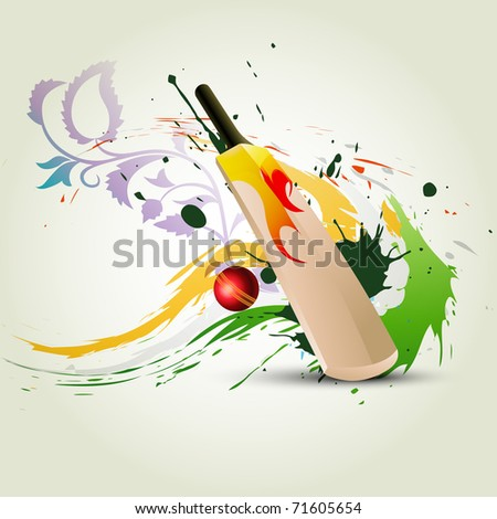 vector cricket bat on abstract background