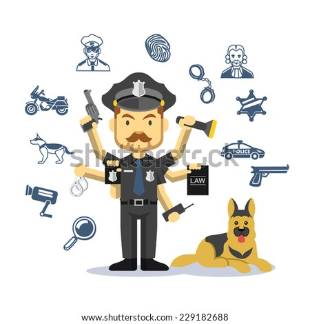 Vector crime and police man. Flat illustration icon set - stock vector