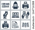 Vector criminal activity icons set: blackmail, hacking, counterfeiting, cardsharping, piracy, passport forgery, skimming, forgery of documents, money laundering - stock