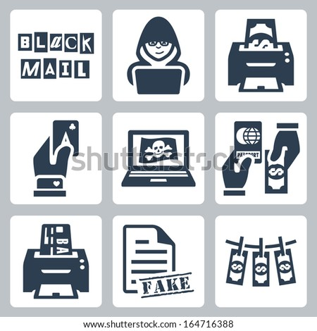 Vector criminal activity icons set: blackmail, hacking, counterfeiting, cardsharping, piracy, passport forgery, skimming, forgery of documents, money laundering - stock vector