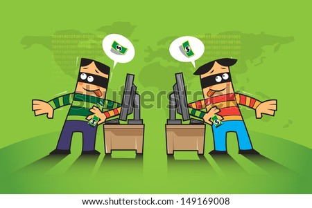 vector criminal concept about hacker, phishing hacking internet social network  - stock vector