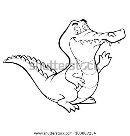 Vector crocodile cartoon alligator line art coloring book black and white drawing illustration - stock vector