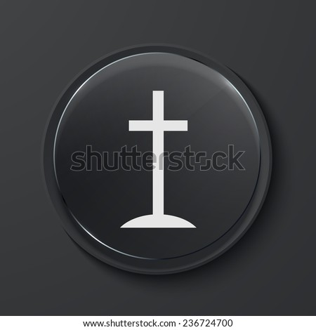 Vector cross modern black glass circle icon. Eps10