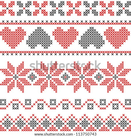Vector Cross Stitch Embroidery Stock Vector 113750743 Shutterstock