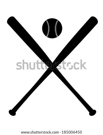 Vector crossed baseball bats and ball set - stock vector