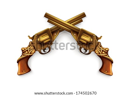 Vector Crossed Revolvers - stock vector