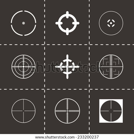 Vector crosshair icons set on black background