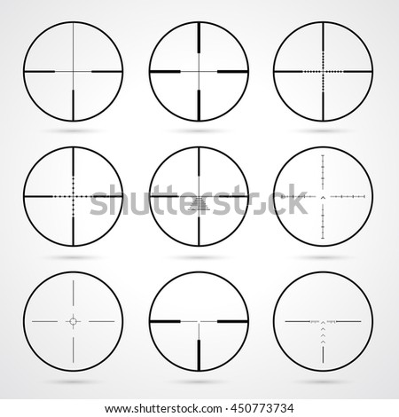 Vector crosshairs set. Target icons set.  Weapon sights. Crosshairs icons isolated on white background. Aims symbol