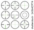 Vector crosshairs set with green sights. Each crosshair in seperated layers. - stock vector