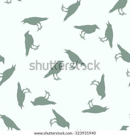 vector, crow seamless pattern - stock vector