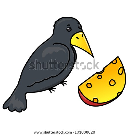 vector  crow with cheese, isolated on white background - stock vector