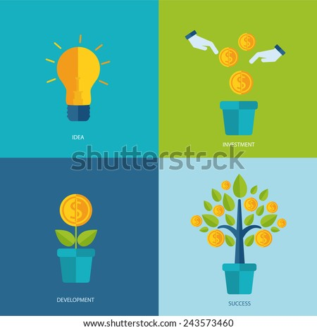 Vector crowdfunding concept in flat style - new business model, start up, vector illustration. - stock vector