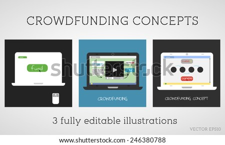 Vector crowdfunding concepts set. Online fund the project. Network donation. Sponsor using the internet. Flat design on colored background. Vector - stock vector