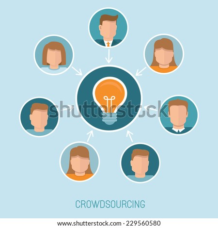 Vector crowdsourcing concept in flat style - abstract group of people participating in generating new ideas and solutions - stock vector