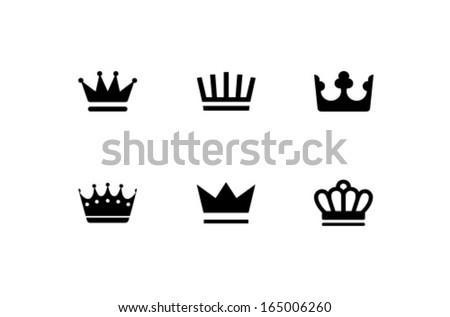Vector Crown Icon Symbol Set - stock vector