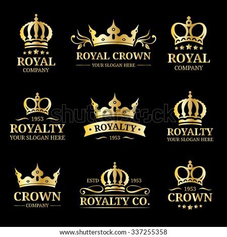 Vector crown logo set. Luxury crown monogram design. Crown vintage monogram. Crown vector illustration. Used for hotel, restaurant, boutique, invitation, jewellery, etc. - stock vector