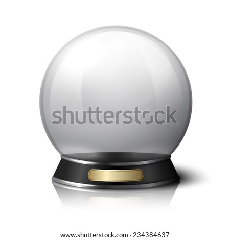Vector crystal ball for fortune tellers. Isolated on white background with reflection.