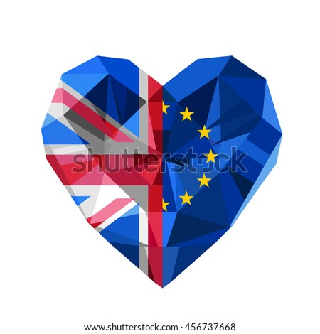 Vector crystal gem jewelry European and British heart with the flag of  the European Union and United Kingdom. Flat style logo symbol of love European Union and the Great Britain. EU. GB. Brexit. - stock vector
