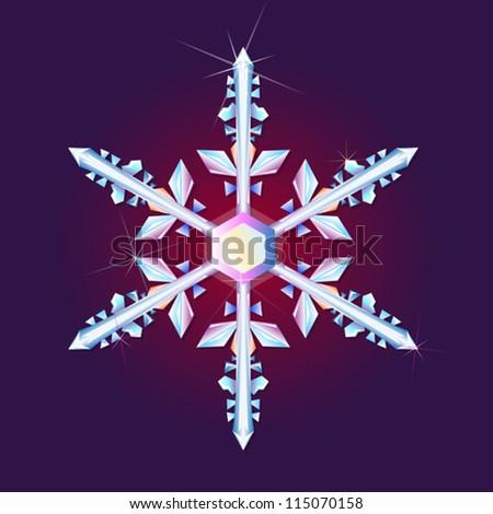 Vector crystal snowflake Xmas background - stock vector
