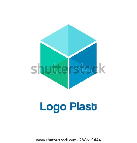 Vector cube 3d logo. - stock vector