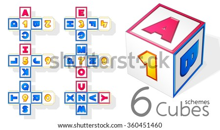 vector CUBE SCHEME ALLParts 6x6: ABCD12 EFGH34 IJKL56 MNOP78 QRST90 UVWXYZ. ABC English alphabet. Vowels and consonants. LETTERS. NUMBERS. PRINT and CRAFT. Learning. Educational Toy for children.  - stock vector