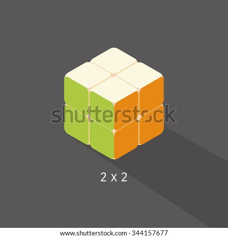 vector cube toy puzzle, 2x2 square