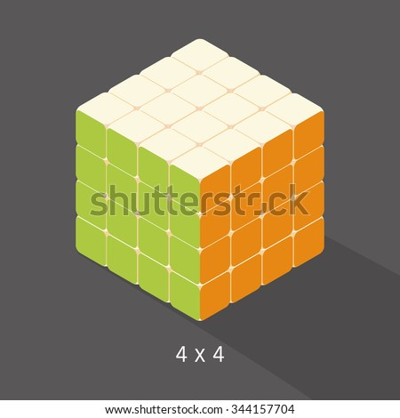 vector cube toy puzzle, 4x4 square - stock vector