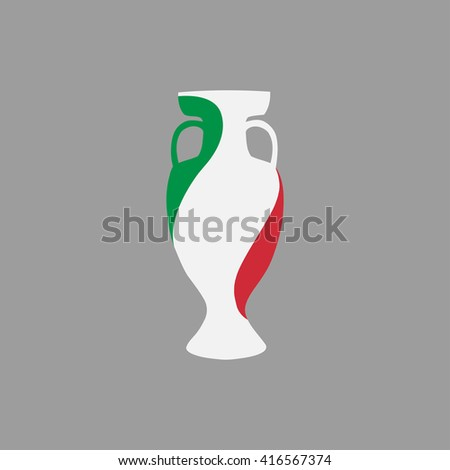 Vector cup isolated on grey background. Italy national state flag colors.First 1st place in sport competition trophy symbol. Championship winner prize icon sign. Flat style. Graphic object clip art - stock vector