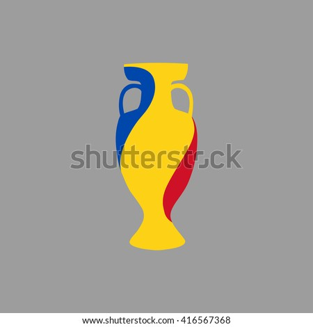 Vector cup isolated on grey background. Romania national state flag colors.First 1st place in sport competition trophy symbol. Championship winner prize icon sign. Flat style. Graphic object clip art - stock vector