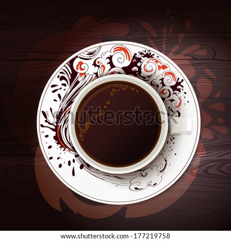 Vector cup of black coffee with symbolic hand drawing ornament - stock vector