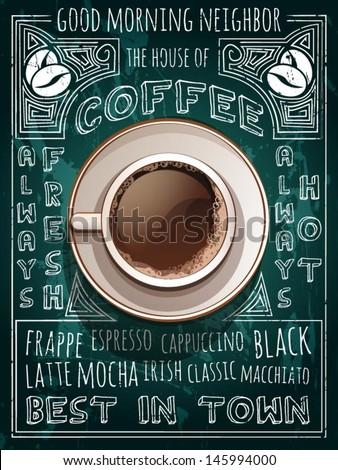 vector cup of coffee on blackboard menu - stock vector