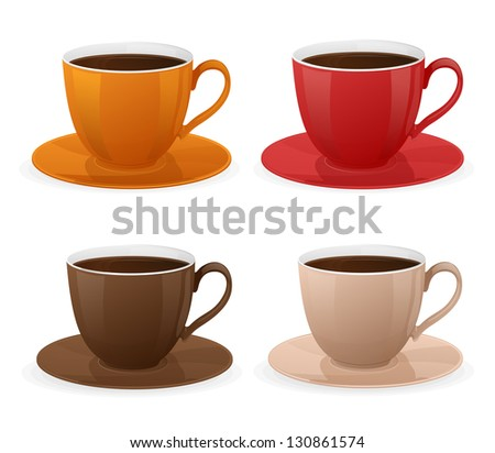 Vector cup of coffee set - stock vector