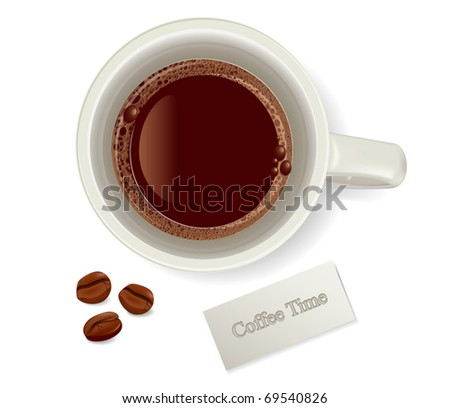 vector cup of coffee with coffee beans - stock vector