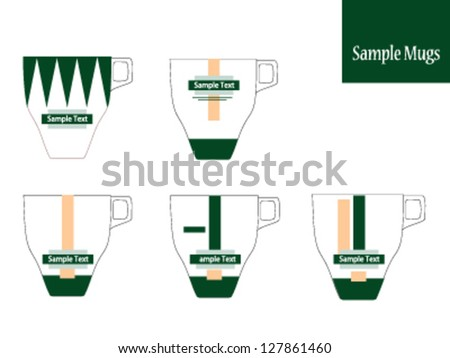 vector cup,vector set of cups and mugs with different vintage designs,various cups and mugs,different designs for cups and mugs,coffee cup,tea cup,coffee time,tea time,editable vector - stock vector