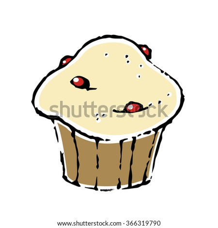 Vector cupcake isolated on white background. - stock vector