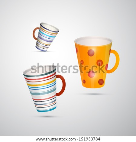 Vector Cups Isolated on White Background  - stock vector